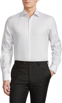 John Varvatos Grid Print Trim Fit Dress Shirt