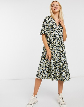 Monki Sandy recycled floral print midi dress in black
