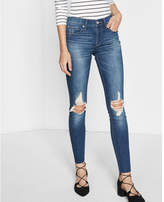 Express Mid Rise Distressed Knee Ankle Jean Legging