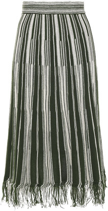 M Missoni Fringe-trimmed Striped Crocheted Cotton-blend Midi Skirt