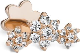 Maria Tash Rose Gold And Diamond 3-Flower-Garland Threaded Earring