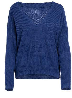 Goodnight Macaroon 'Stacie' Deep V-neck Knitted Sweater (6 Colors)