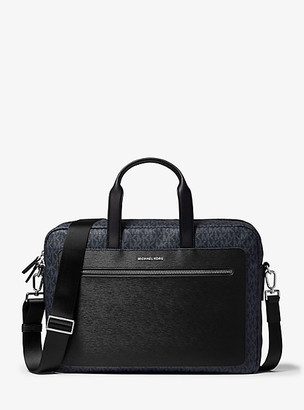 Michael Kors Hudson Logo and Crossgrain Leather Briefcase - Adm/vin Indi