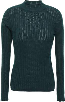 Sandro Ribbed Pointelle-knit Top