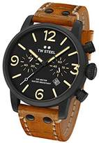 TW Steel Maverick Unisex Quartz Watch with Black Dial Chronograph Display and Brown Leather Strap MS33