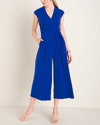 London Times Blue Tie-Waist Jumpsuit