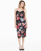 White House Black Market Floral Printed with Eyelash Lace Slip Dress