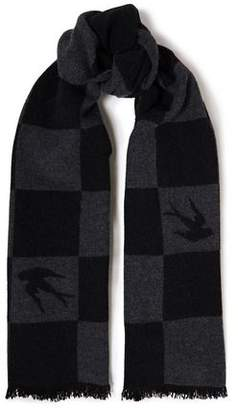 McQ Fringe-trimmed Checked Wool-blend Jacquard Scarf
