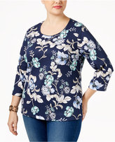 Karen Scott Plus Size Floral-Print Top, Only at Macy's