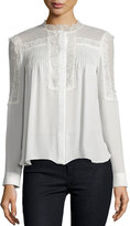 Haute Hippie Lace-Trim Collarless Pintucked Silk Blouse, Swan