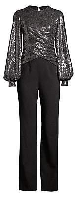 Black Halo Women's Uno 2-Piece Sequin Puff-Sleeve Top & Crepe Pants Jumpsuit