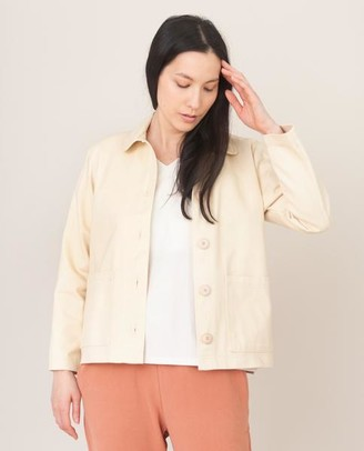 Beaumont Organic Sharon Dee Cotton Jacket In Ivory - Ivory / Small