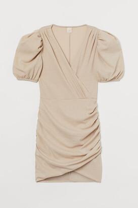 H&M Puff-sleeved Wrap Dress - Beige