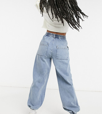 Reclaimed Vintage Inspired The '81 cuffed slouch mom jean with elasticated waist in mid wash blue