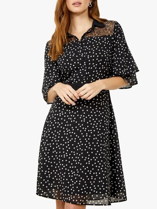 Sosandar Lace Shirt Polka Dot Knee Length Dress, Black