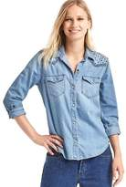 Gap 1969 Denim Embroidered Western Shirt