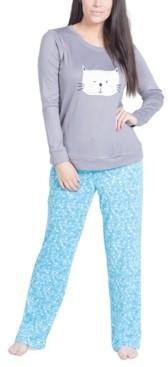 Muk Luks Cat Print Long Sleeve & Pant Pajama Set