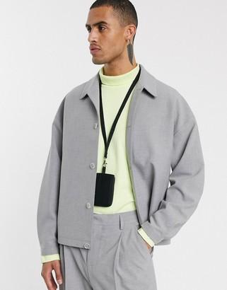 ASOS boxy suit jacket in grey