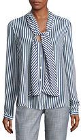 Karl Lagerfeld Paris Striped Tie-Neck Blouse