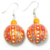 Idin Jewellery - Handpainted white and blue dots sphere shape handmade earrings made from mango wood