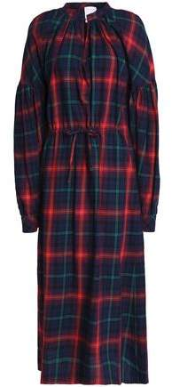 Stella Jean Gathered Checked Cotton-blend Flannel Midi Dress