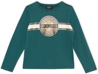 Bardot Junior Metallic Crest Graphic Long Sleeve T-Shirt