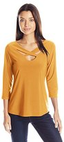 NY Collection Women's Solid 3/4 Sleeve V Neck Solid Knit Top with Crisscross Front Neck Detail