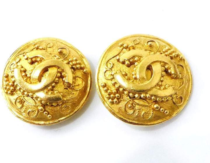 Chanel Gold Tone Hardware Coco Mark CC Logo Motif Earrings