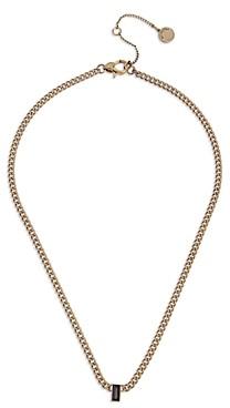 AllSaints Black Baguette Crystal Curb Chain Pendant Necklace, 16-18