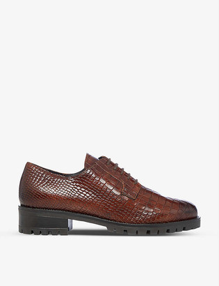 Dune Flash snakeskin-embossed leather Derby shoes