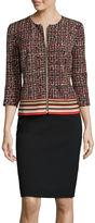 R & K Originals R&K Originals 3/4-Sleeve Border Print Zipper Close Jacket and Skirt Suit