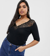 Asos DESIGN Curve top with lace bardot off shoulder trim