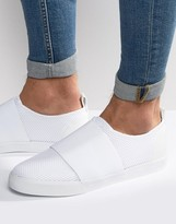 Asos Slip On Sneakers in White Mesh With Elastic Strap