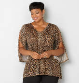 Avenue Leopard Split Sleeve Sharkbite Top