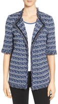 Ming Wang Fringe Print Knit Jacket