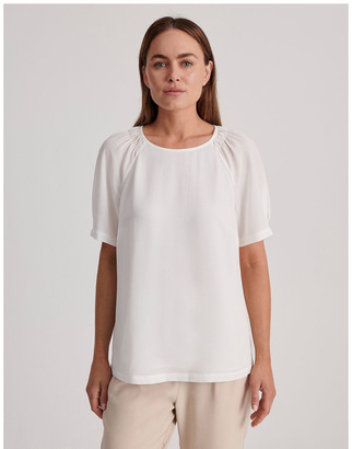 Basque Bubble Crepe Raglan Sleeve Top