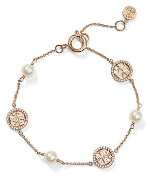 Tory Burch Crystal Logo & Simulated Pearl Station Bracelet