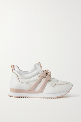Alexandre Birman Clarita Jogger Bow-embellished Leather And Neoprene Sneakers - White