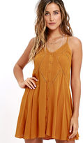LuLu*s By the Beach Orange Embroidered Swing Dress