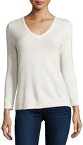 Neiman Marcus Cashmere V-Neck Basic Sweater, Ivory