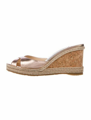 Jimmy Choo Leather Braided Accents Espadrilles Metallic