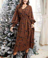 Suzanne Betro Dresses Women's Casual Dresses 101CAMEL - Camel & Black Paisley Balloon-Sleeve Midi Dress - Women