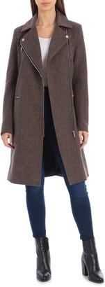 AVEC LES FILLES Moto Detail Wool Blend Twill Coat