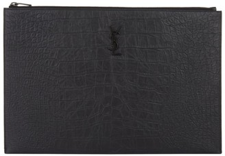 Saint Laurent Leather Croc Embossed Document Case
