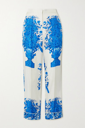 Valentino Printed Silk-twill Wide-leg Pants - White