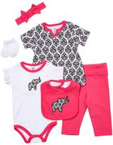 Yoga Sprout Girls' Infant Bodysuits Damask - Pink Elephant & Damask Six-Piece Layette Set - Newborn & Infant