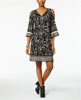 Style&Co. Style & Co Petite Printed Mesh Cold-Shoulder Dress, Only at Macy's