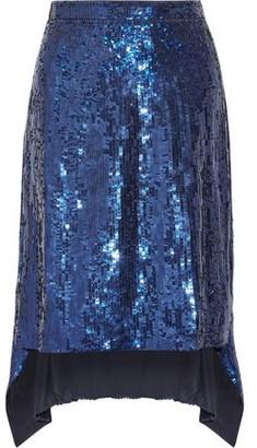 Altuzarra Oleander Asymmetric Sequined Silk-chiffon Skirt