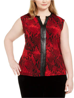 Calvin Klein Plus Size Faux-Leather-Trim Snake-Print Top