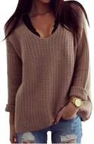 Roundshop Women's Soft Knitted V-neck Sweater Loose Pullover Tops S
